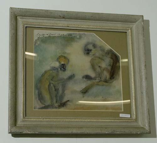 ALBERT-LAZARD, LOU Meerkatzen. 1931. Aquarell auf Papier. 26 x 28,5 cm (Lichtmass).
