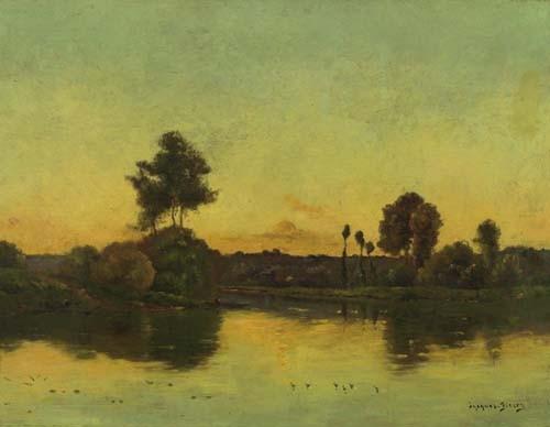DELPY, JACQUES HENRI Sonnenuntergang am Fluss. Öl auf Holz. 44,7 x 58,2 cm.