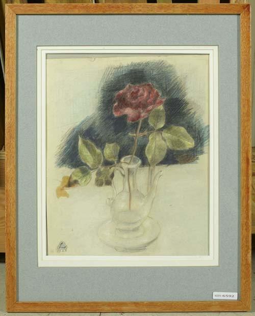 *LÜTHY, OSKAR Stilleben mit Rose. 1923. Farbstift auf Papier. 30,4 x 24,3 cm.