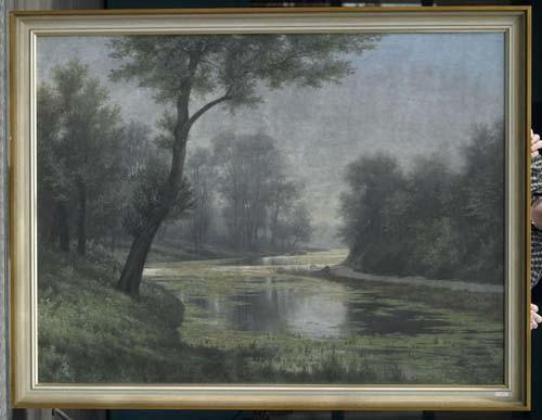 *RÜDISÜHLI, EDUARD Flusslandschaft. Öl auf Leinwand. 99,5 x 134 cm.