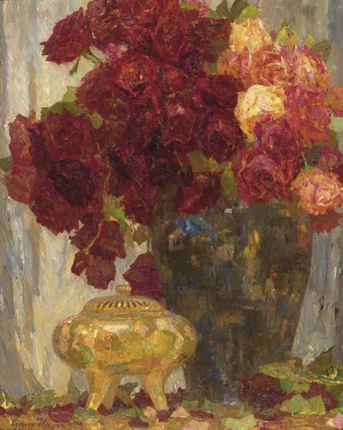 UNGER, HANS Rosenstrauss in Vase. Öl auf Leinwand. 60 x 75 cm.