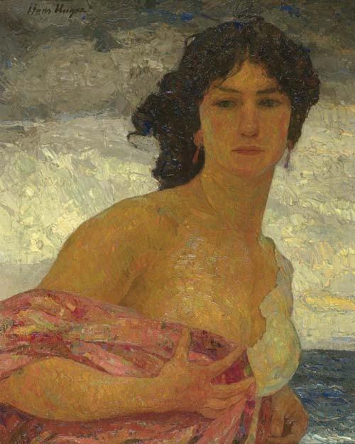 UNGER, HANS Damenportrait. Öl auf Leinwand. 76 x 60 cm.