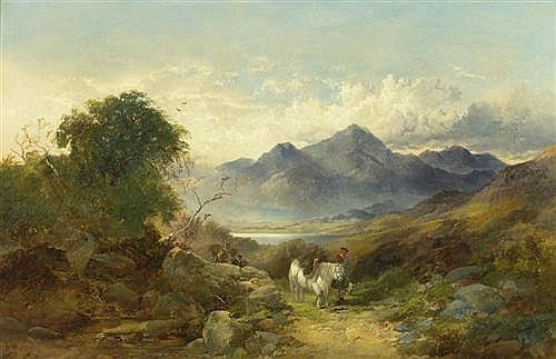 HORLOR, JOSEPH (Grossbritannien, 19. Jahrhundert) Landschaft mit Pferden, Reiter und Gebirge im Hintergrund. Öl auf Leinwand. 67 x 102