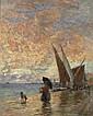 *AERNI, FRANZ THEODOR (1853 Arburg 1918) Küstenpromenade mit spazierender Dame mit Kind und Hund. 1896. Öl auf Leinwand. 62 x 48,7 cm., Franz Theodor Aerni, Click for value