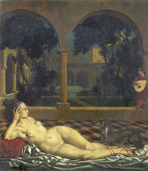 BAIERL, THEODOR (1881 München 1932) Liegender Akt und Lautenspieler in einem Kloster. Öl auf Holz. 43,8 x 38 cm.