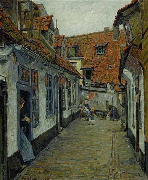 *HOENIGER, PAUL (1865 Berlin 1924) Dorfgasse. 1912. Öl auf Leinwand. 73,5 x 61 cm.