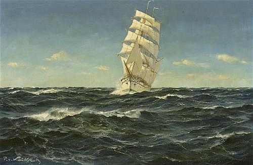 KALCKREUTH, PATRICK VON (Deutschland, 1892 - 1970) Marine. Öl auf Leinwand. 40 x 60 cm.