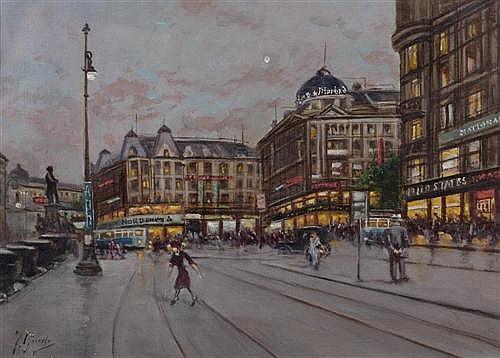 GIUSTO, FAUSTO (Italien, 19. Jahrhundert) Bahnhofplatz Zürich. Öl auf Leinwand. 25,5 x 36,5 cm.