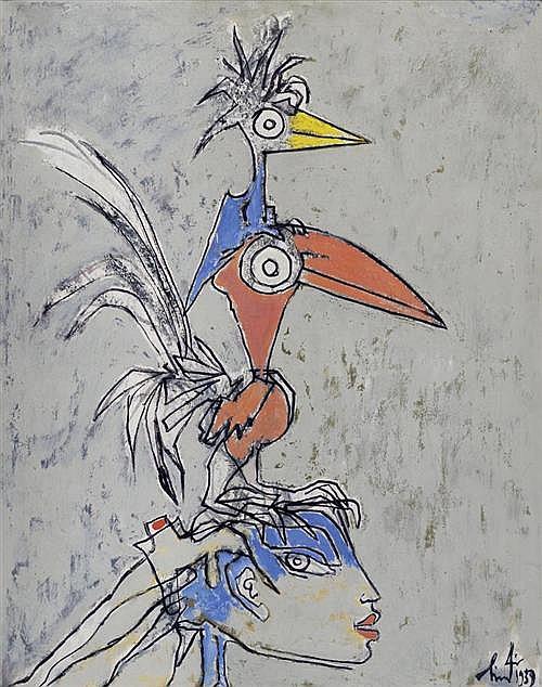 LINDI (LINDEGGER), ALBERT (Bern 1904 - 1991 Agorone) Drei Augen. 1959. Öl auf Leinwand. 92,5 x 73,5 cm.