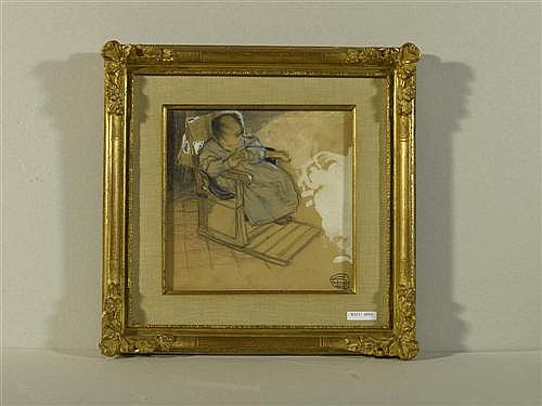 DUPUIS, GEO (1874 Le Havre 1932), zugeschrieben Kleines Mädchen mit Stuhl. Kreide und Gouache auf braunem Papier. 21,5 x 22 cm (Lichtma