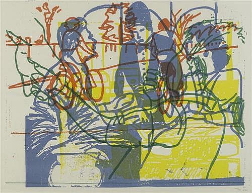 ALOE, CARLO (geboren 1939 in Neuenburg) Komposition mit Menschen und Bäumen. Lithografie. 48 x 61,5 cm (Darstellung).