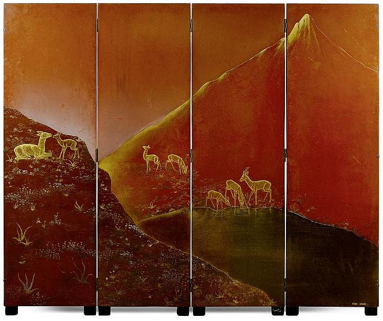 DUNAND, PIERRE.(1914 - 1996).FOLDING SCREEN, circa