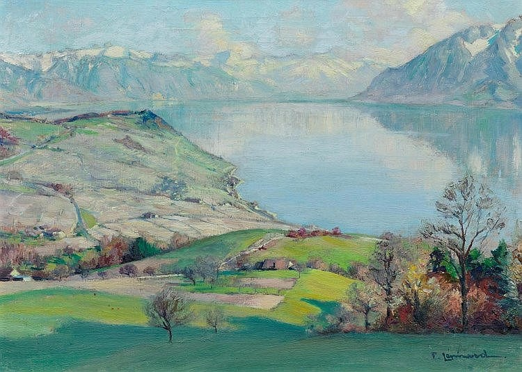 LEPINARD, PAUL  (1887 Lavaux 1963)  Genfersee, Lavaux mit Blick Richtung Montreux.  Öl auf Leinwand. Unten rechts signiert: P. Lepinard.  24,5 x 33,5 cm.    Provenienz:    Bedeutende Zürcher Privatsammlung.