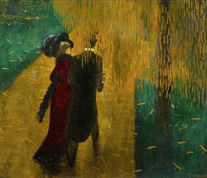 WALSER, KARL.(1877 - 1943).Couple in a park.Oil on