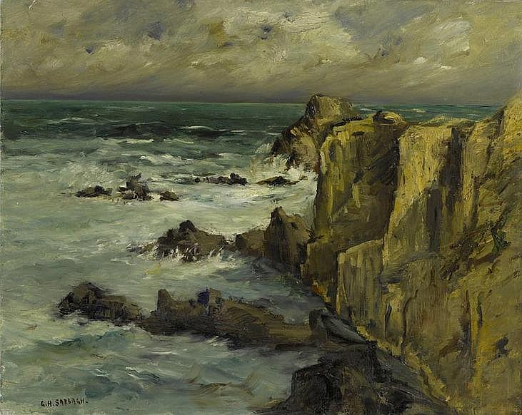 SABBAGH, GEORGES HANNA.(1877 - 1951).Cliffs.Oil on