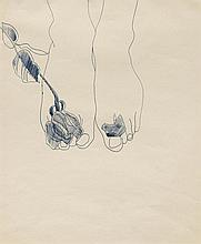 ANDY WARHOL1928 - 1987Feet with Flowers.Ball-point