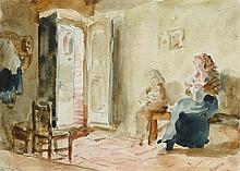 ANKER, ALBERT(1831 Ins 1910)Interior with mother