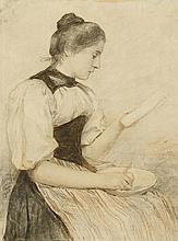 ANKER, ALBERT(1831 Ins 1910)Recto: Girl preparing