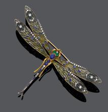 ENAMEL, SAPPHIRE, EMERALD AND DIAMOND DRAGONFLY BROOCH.