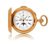 Le Phare chronograph pocket watch with minute repeater and calendar, ca 1900.