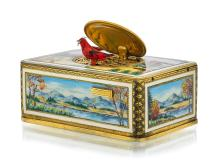 Music box with animated songbird, ca. 1950.