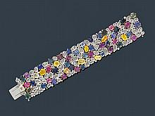 MULTI-SAPPHIRE AND DIAMOND BRACELET.White gold