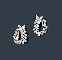DIAMOND EAR CLIPS, ca. 1960.Platinum