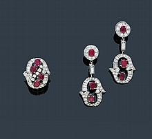 RUBY AND DIAMOND EAR PENDANTS WITH RING, ca.