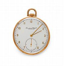 POCKET WATCH, IWC, 1920s.Pink gold 750.Flat,