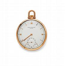 POCKET WATCH, PATEK PHILIPPE, 1940s.Pink gold
