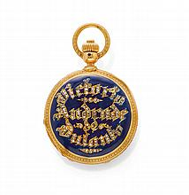 ENAMEL AND DIAMOND HALF SAVONNETTE POCKET WATCH,