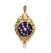 ENAMEL, PEARL AND DIAMOND ANIMATED PENDANT/BROOCH,
