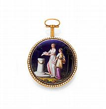 ENAMEL MINIATURE AND PEARL VERGE WATCH, France ca.