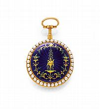 ENAMEL AND PEARL VERGE WATCH, 1/4 REPEATER,