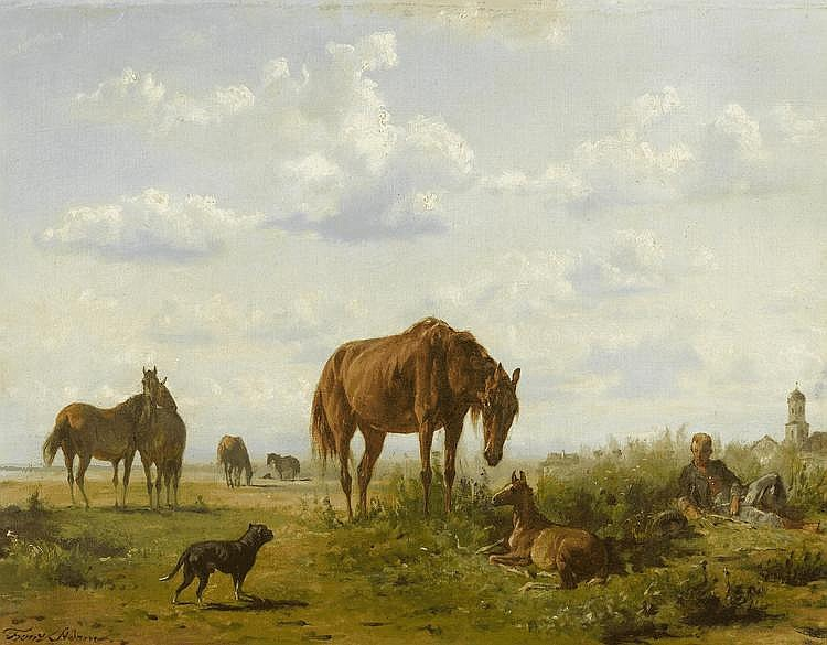 ADAM, FRANZ(Milan 1815 - 1886 Munich)Horses in a