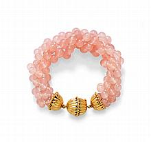 ROSE QUARTZ AND GOLD BRACELET.Clasp in yellow gold