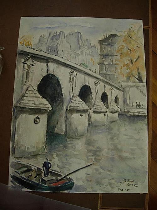 *COUDON, ROLAND Pont Marie. Öl auf Papier. 51 x 38 cm.
