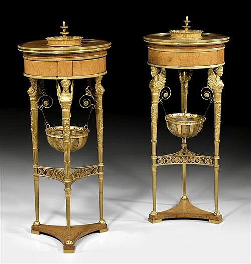 *PAIR OF ATHENIENNES,late Empire, after designs by C. PERCIER (Charles Percier, 1764-1838) and P. FONTAINE (Pierre F.L. Fontaine, 1762-