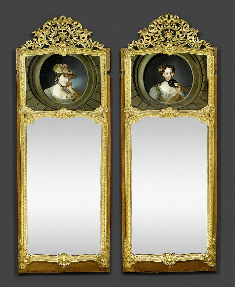 PAIR OF TRUMEAU MIRRORS,Louis XV, by J.F. FUNK I