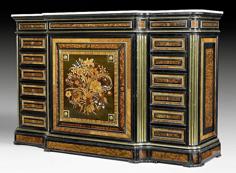 sideboard 39 a fleurs 39 louis xvi style stamped. Black Bedroom Furniture Sets. Home Design Ideas