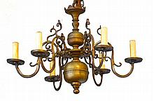 CHANDELIER,Baroque style, Holland.Bronze. 6 curved