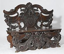 CARVED BENCH,Renaissance style, Italy.Richly