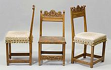 SUITE OF 3 SIMILAR CHAIRS, Renaissance style, 19th