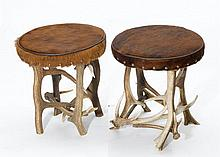 PAIR OF ANTLER STOOLS,in the rustic style.Round,
