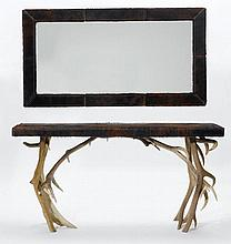CONSOLE WITH MIRROR,in the rustic style.Deer