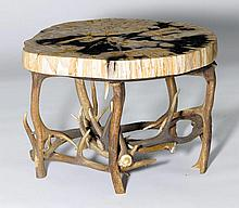 COFFEE TABLE,in the rustic style.Leaf, part of a