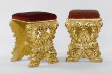 PAIR OF CARVED STOOLS,