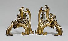 PAIR OF FIREPLACE CHENETS,Louis XV, 18th