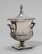 CUP AND COVER,Italy, 20th century.Rounded cup, the