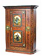 A SWISS PAINTED PINE ARMOIRE,circle of Johannes